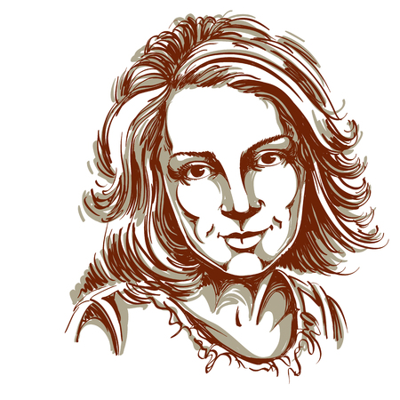 Graphic vector hand-drawn illustration of white skin attractive melancholic lady with stylish haircut. People face expressions. Illustration