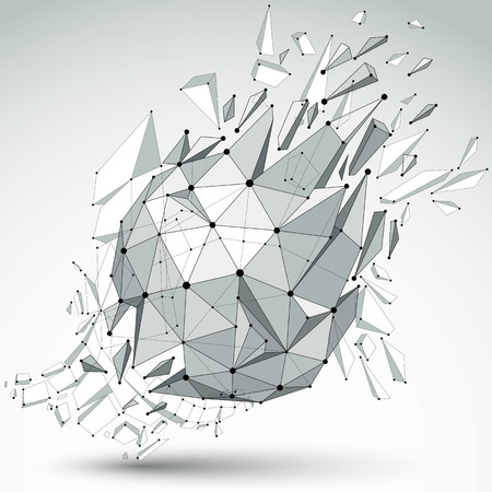 Abstract 3d faceted spherical figure with connected black lines and dots. Vector low poly shattered design element with fragments and particles. Explosion effect. Illustration