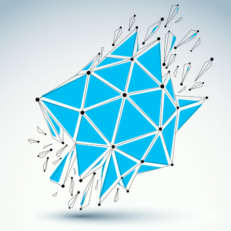 splinter: Abstract 3d faceted figure with connected black lines and dots. Vector low poly blue shattered design element with fragments and particles. Explosion effect.