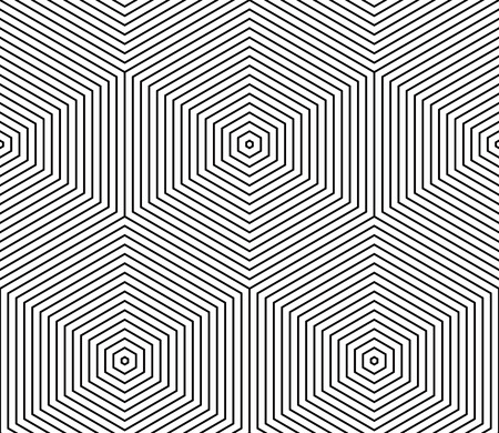covering: Illusive continuous monochrome pattern, decorative abstract background with 3d geometric figures. Contrast ornamental seamless backdrop, can be used for design and textile. Illustration