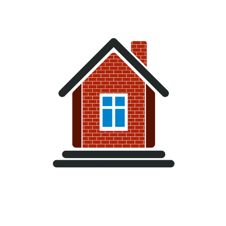 Country house constructed with red bricks, real estate. Creative home vector symbol, can be used in advertising and home insurance business. Illustration