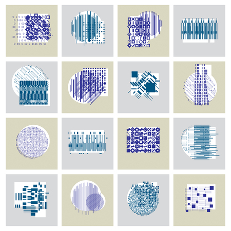 coded: Abstract vector backgrounds set, geometric illustrations collection.