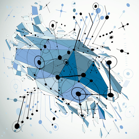 demolish: Geometric Bauhaus 3d vector blue background with low poly abstract demolished object created from circles and connected lines. Best for use as advertising poster or banner design. Illustration