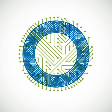 microprocessor: Vector circuit board circle, digital technologies abstraction. Green and blue computer microprocessor scheme, futuristic design.