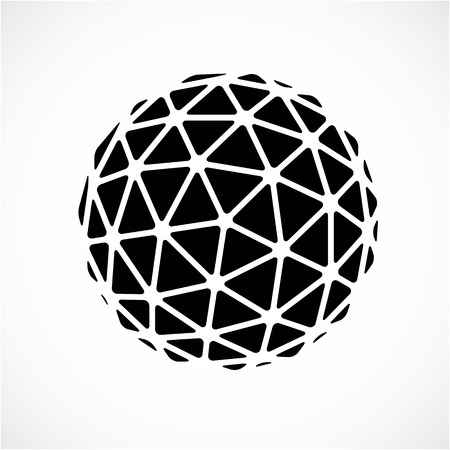 Black and white faceted orb created from triangles, dimensional vector sphere. Low poly geometric design element for use in engineering and technology. Stock Illustratie