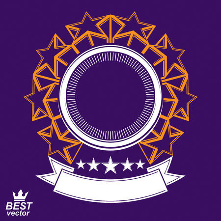 Vector stylized corporate design element, celebrative stars web emblem. Union and solidarity theme � eps8 heraldic object.