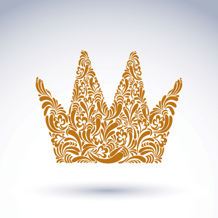 Flower-patterned decorative crown, art royal vector symbol. King coronet filled with abstract natural pattern, imperial theme classic design element.
