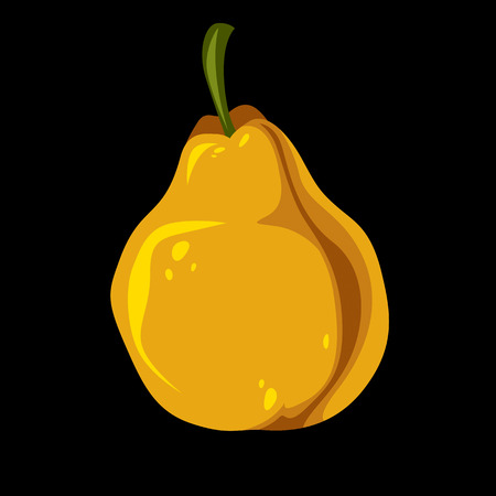 fertility emblem: Single orange simple vector pear, ripe sweet fruit illustration. Healthy and organic food, harvest season symbol.