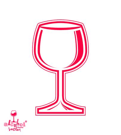 Vector goblet – alcohol drink theme illustration. Elegant empty wineglass, winery emblem, eps8 holiday design element. For use in advertising. Illustration