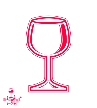 rendezvous: Vector goblet – alcohol drink theme illustration. Elegant empty wineglass, winery emblem, eps8 holiday design element. For use in advertising. Illustration