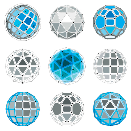 trigonometry: Set of vector low poly spherical objects with connected lines and dots, 3d geometric wireframe shapes. Perspective trigonometry facet orbs created with triangles, squares and pentagons.