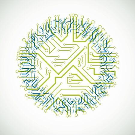 esquema cibernético futurista, vector de la ilustración placa verde y azul. elemento circular con placa de circuito textura.
