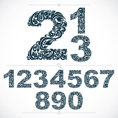 numeration: Floral numerals, hand-drawn vector numbers decorated with botanical pattern. Monochrome ornamental numeration, digits made in vintage design.