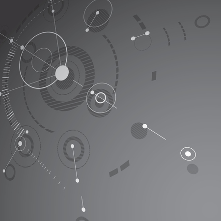 overlie: Modular Bauhaus 3d vector background, created from geometric figures like circles and lines. Best for use as advertising poster or banner design. Grayscale abstract mechanical scheme.