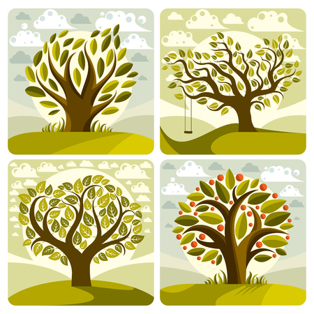 fruitful: Vector art green trees with swing on beautiful cloudy spring landscape.  Setting sun with sunbeams view, season theme illustrations collection.