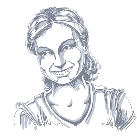young woman smiling: Monochrome vector hand-drawn image, romantic young woman smiling. Black and white illustration of glad girl, positive emotions.