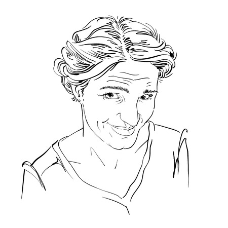 i am sorry: Hand-drawn vector illustration of naive blameworthy woman. Monochrome image, expressions on face of young lady. I am sorry theme. Illustration