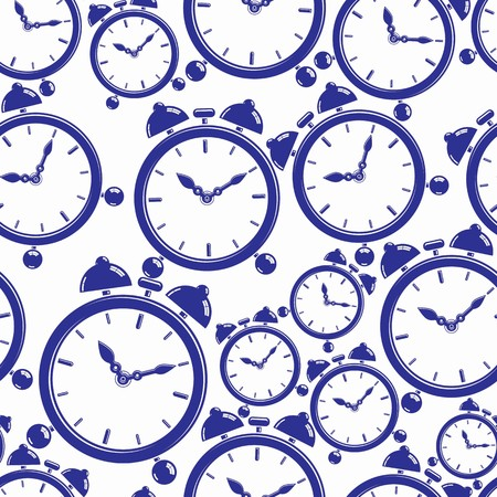 interim: Seamless pattern with clocks, wake up idea. Simple vector timers, classic stopwatches. Time management symbolic elements.