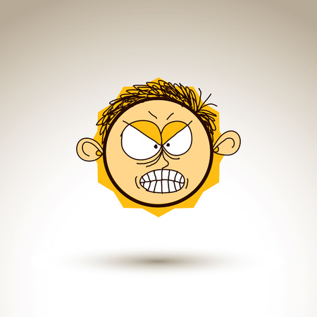 personality: Vector graphic drawing of personality face, furious male portrait. Social network theme illustration, human emotions idea. Illustration