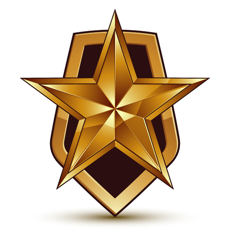 Vector stylized symbol isolated on white background.  Glamorous pentagonal golden star, clear EPS 8, symbolic insignia, aristocratic blazon. Illustration