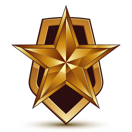 aurum: Vector stylized symbol isolated on white background.  Glamorous pentagonal golden star, clear EPS 8, symbolic insignia, aristocratic blazon. Illustration