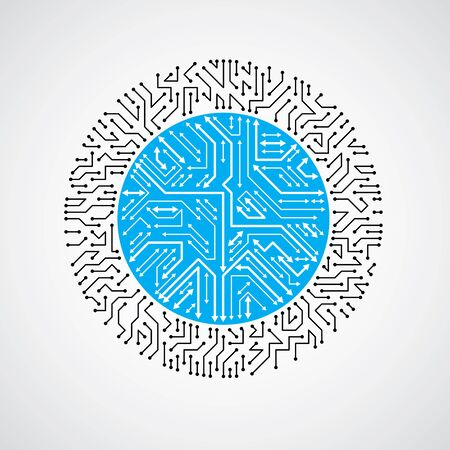 high tech device: Vector abstract technology illustration with round blue circuit board. High tech circular digital scheme of electronic device, multidirectional arrows.