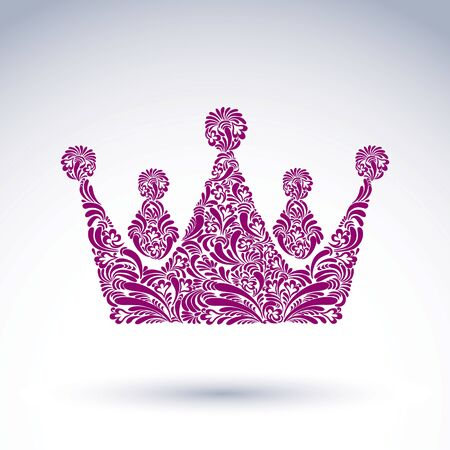 coronet: Flower-patterned decorative crown, art royal symbol. King coronet filled with abstract natural pattern, imperial theme vector design element.