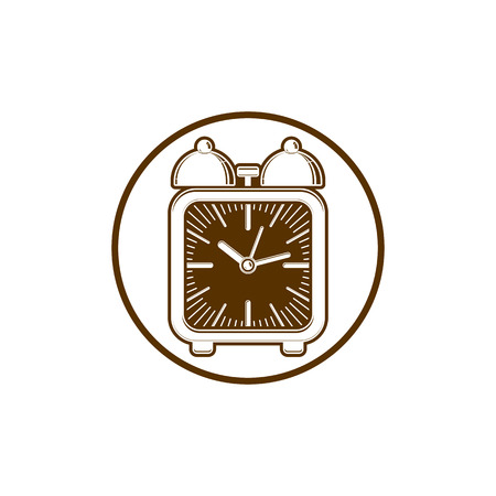 Time conceptual stylish icon, simple desk clock placed in a circle. Can be used in advertising and as web element.