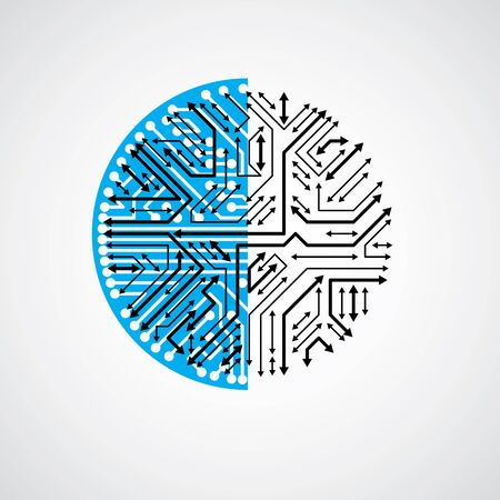 multidirectional: Futuristic cybernetic scheme with multidirectional arrows., vector motherboard blue illustration. Circular element with circuit board texture.