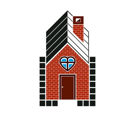 locality: Family house abstract icon, harmony and love concept. Simple vector building constructed with bricks, architecture theme symbol. Illustration