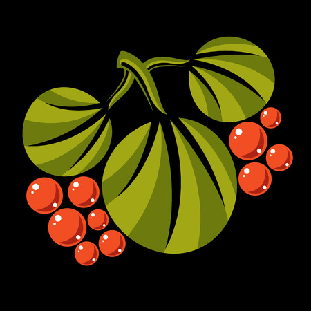 fruitful: Three spring or summer leaves simple vector icon, nature and gardening theme illustration. Stylized tree leaf with orange berries and seeds, botany and herbal design element. Illustration