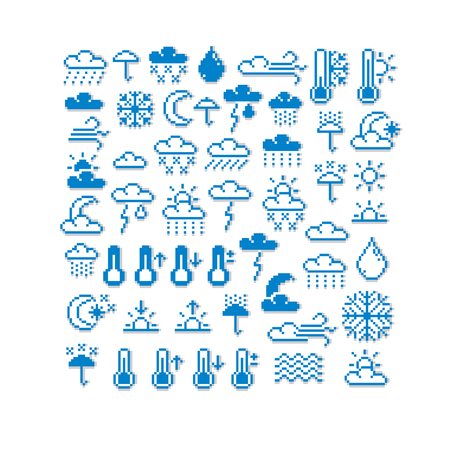 Vector pixel icons isolated, collection of 8bit meteorology graphic elements. Simplistic digital signs created in weather conditions theme.