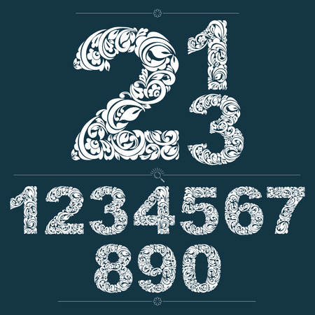 numeration: Ecology style flowery numbers, vector numeration made using natural ornament. Black and white digits created with spring leaves and floral design.