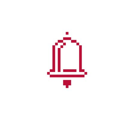 hand bell: Vector pixel icon isolated, 8bit graphic element. Simplistic ringing hand bell sign.
