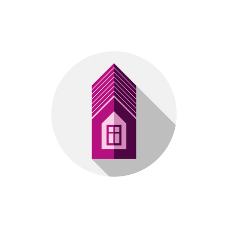 structural engineers: Property symbol, vector house constructed with bricks. Real estate agency theme. Round sign with home illustration.