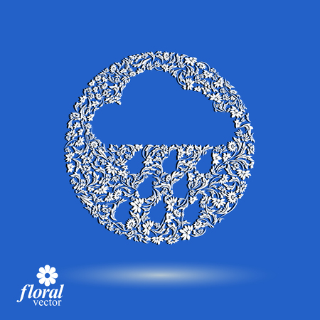 cold weather: Weather forecast vector icon, meteorology flower-patterned symbol. Cold season  abstract pictogram – storm cloud with falling rain drops, web design element.