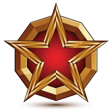 glorious: Vector glorious glossy design element, luxury 3d red star with golden borders, classic conceptual graphic insignia, clear EPS 8.