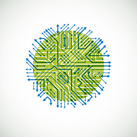 high tech device: Vector abstract technology illustration with round green and blue circuit board. High tech circular digital scheme of electronic device, multidirectional arrows.
