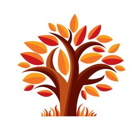 autumn tree: Art fairy illustration of autumn tree, stylized eco symbol. Insight vector image on season idea, beautiful picture.