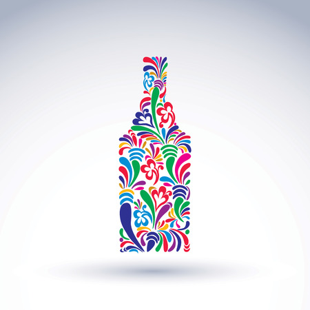 flowery: Bright flowery alcohol bottle. Stylized glassware symbol with abstract ethnic pattern. Graphic relaxation conceptual vector object, can be used in decoration and design. Illustration