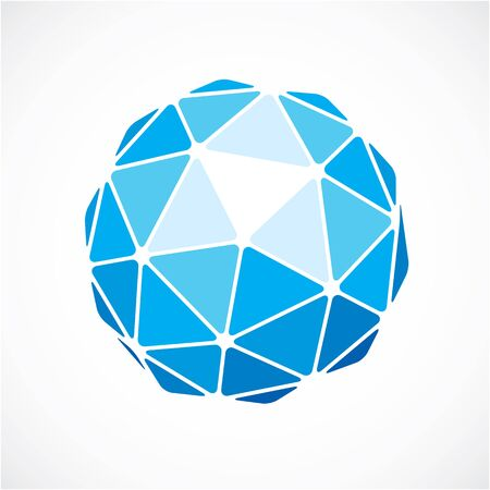 facets: Dimensional vector blue low poly object, trigonometry shape. Technology 3d spherical element made with triangular facets for use as design form in engineering.