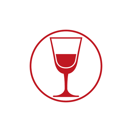 Classic champagne glass, alcohol beverage theme illustration. Lifestyle graphic design element.  Relaxation and leisure icon, for use in graphic design.