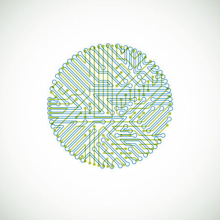electronic scheme: Vector abstract colorful technology illustration with round green and blue circuit board. High tech circular digital scheme of electronic device.