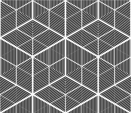 Motif 3d géométrique abstraite illusoire en noir et blanc. Contexte floral stylisé, le meilleur pour la conception graphique et web.