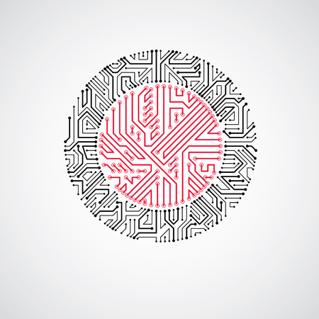 electronic scheme: Vector abstract technology illustration with round monochrome circuit board. High tech circular digital scheme of electronic device.