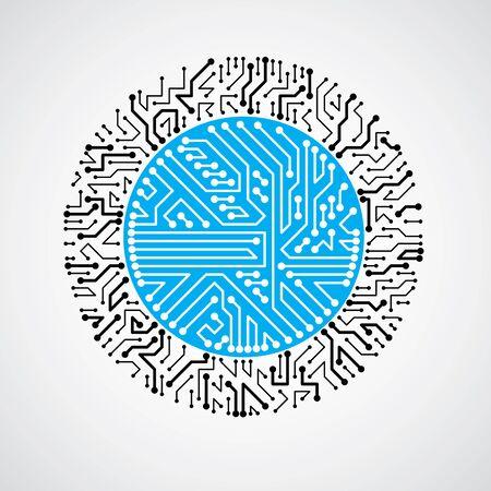 microprocessor: Vector circuit board circle, digital technologies abstraction. Blue computer microprocessor scheme, futuristic design.