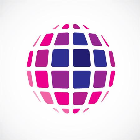 3d vecteur objet sphérique numérique faite en utilisant les facettes carrés. Faible forme poly, pourpre globe polygonale, forme abstraite pour une utilisation dans la conception web. Vecteurs
