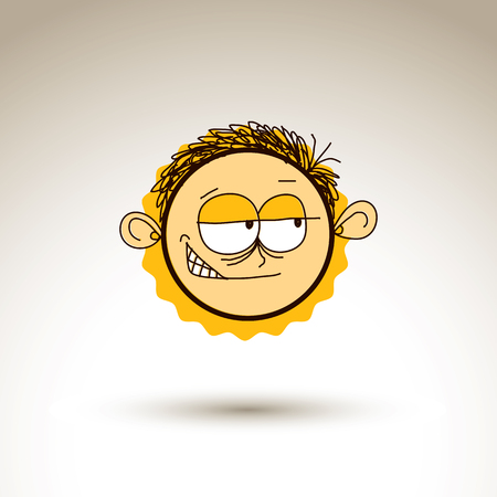 doubtful: Vector hand drawn cartoon tricky boy. Web avatar theme graphic design element isolated on white. Social conversation idea artistic drawing.