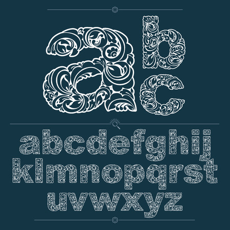 typescript: Set of vector ornate lowercase letters, flower-patterned typescript. Black and white characters created using herbal texture.