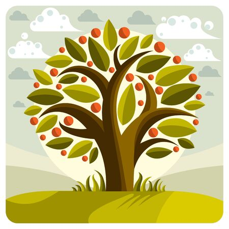 Fruity tree with ripe apples placed on stylized background. Wealth and prosperity conceptual illustration.